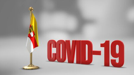 Carinthia realistic 3D flag illustration. Red 3D COVID-19 text rendering.