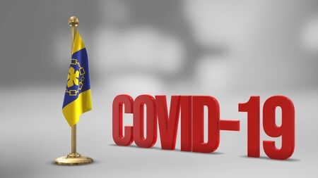 Hamilton realistic 3D flag illustration. Red 3D COVID-19 text rendering. 写真素材
