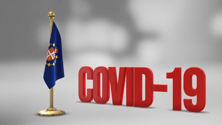 Lieutenant-Governor Of Newfoundland And Labrador realistic 3D flag illustration. Red 3D COVID-19 text rendering.