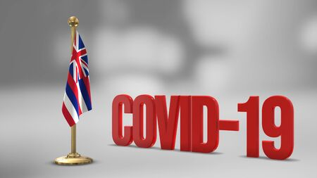 Hawaii realistic 3D flag illustration. Red 3D COVID-19 text rendering. 写真素材