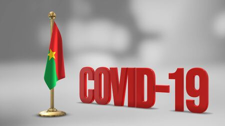 Burkina Faso realistic 3D flag illustration. Red 3D COVID-19 text rendering.