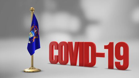 Michigan realistic 3D flag illustration. Red 3D COVID-19 text rendering.