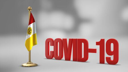 San Diego California realistic 3D flag illustration. Red 3D COVID-19 text rendering. 写真素材