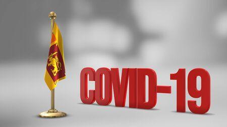 Sri Lanka realistic 3D flag illustration. Red 3D COVID-19 text rendering.
