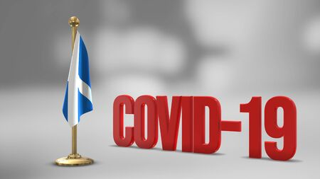 Scotland realistic 3D flag illustration. Red 3D COVID-19 text rendering. 写真素材