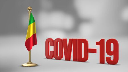 Mali realistic 3D flag illustration. Red 3D COVID-19 text rendering.