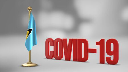 Saint Lucia realistic 3D flag illustration. Red 3D COVID-19 text rendering.