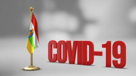 La Rioja Spain realistic 3D flag illustration. Red 3D COVID-19 text rendering.