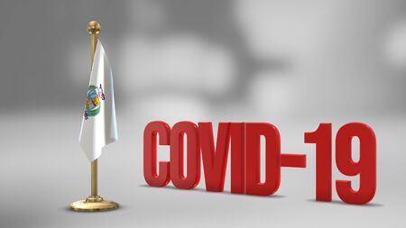 Tarapaca Chile realistic 3D flag illustration. Red 3D COVID-19 text rendering.