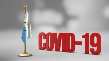 Mendoza realistic 3D flag illustration. Red 3D COVID-19 text rendering.