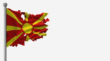 Macedonia 3D tattered waving flag illustration on Flagpole. Isolated on white background with space on the right side.