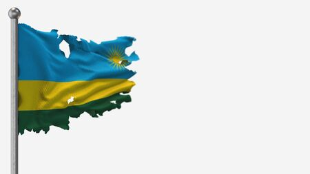 Rwanda 3D tattered waving flag illustration on Flagpole. Isolated on white background with space on the right side.