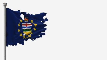 Lieutenant-Governor Of Alberta 3D tattered waving flag illustration on Flagpole. Isolated on white background with space on the right side. 写真素材