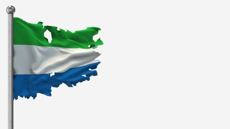 Sierra Leone 3D tattered waving flag illustration on Flagpole. Isolated on white background with space on the right side. 写真素材 - 146889628