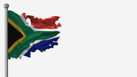 South Africa 3D tattered waving flag illustration on Flagpole. Isolated on white background with space on the right side.