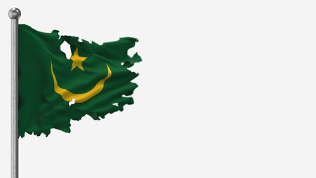Mauritania 3D tattered waving flag illustration on Flagpole. Isolated on white background with space on the right side.