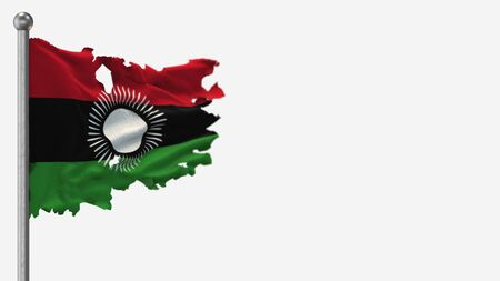 Malawi 3D tattered waving flag illustration on Flagpole. Isolated on white background with space on the right side.