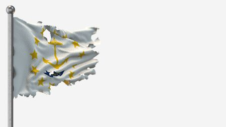 Rhode Island 3D tattered waving flag illustration on Flagpole. Isolated on white background with space on the right side.