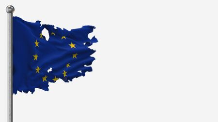 European Union 3D tattered waving flag illustration on Flagpole. Isolated on white background with space on the right side. 写真素材