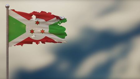 Burundi 3D tattered waving flag illustration on flagpole. Isolated on blurred sky background with space on the right side. Depth of Field effect.