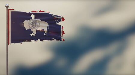Wyoming 3D tattered waving flag illustration on flagpole. Isolated on blurred sky background with space on the right side. Depth of Field effect.