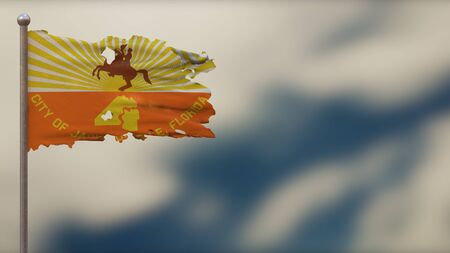 Jacksonville Florida 3D tattered waving flag illustration on flagpole. Isolated on blurred sky background with space on the right side. Depth of Field effect.