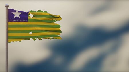 Piaui 3D tattered waving flag illustration on flagpole. Isolated on blurred sky background with space on the right side. Depth of Field effect.