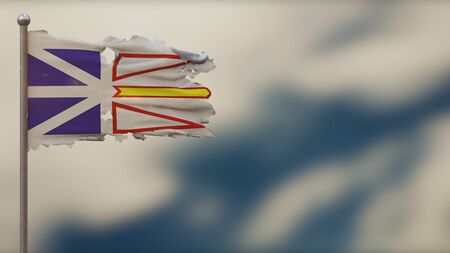 Newfoundland And Labrador 3D tattered waving flag illustration on flagpole. Isolated on blurred sky background with space on the right side. Depth of Field effect.