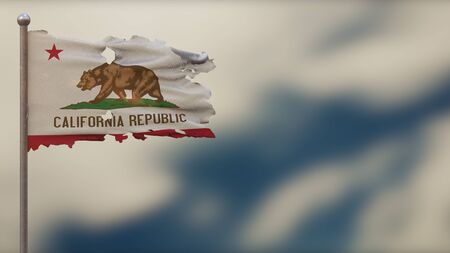 California 3D tattered waving flag illustration on flagpole. Isolated on blurred sky background with space on the right side. Depth of Field effect.