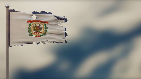 West Virginia 3D tattered waving flag illustration on flagpole. Isolated on blurred sky background with space on the right side. Depth of Field effect.