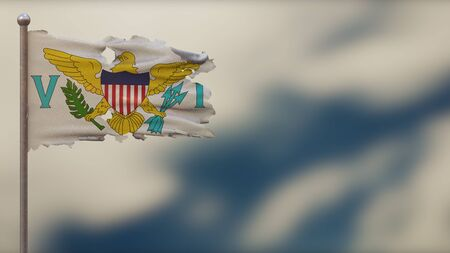 Virgin Islands 3D tattered waving flag illustration on flagpole. Isolated on blurred sky background with space on the right side. Depth of Field effect. 写真素材