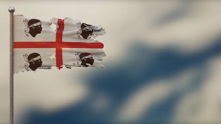 Sardinia 3D tattered waving flag illustration on flagpole. Isolated on blurred sky background with space on the right side. Depth of Field effect.