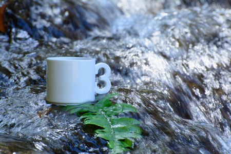 rested: One cup of coffee Rested on a rock waterfall The water beautifully thaland.