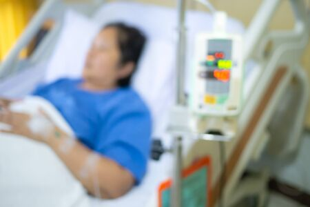 Blurred background of patient modern recovery roomroom at hospital