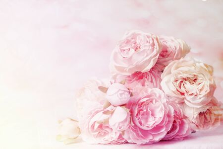 Roses in mulberry paper with pastel tones for the background Banque d'images