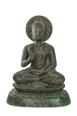 pinchbeck: Buddha statues bless. Sculpture isolated on white with clipping path Stock Photo