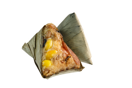 Zongzi or Asian Chinese rice dumplings. Isolated on white for Dragon Boat Festival  Close up of Zongzi. Traditional chinese food. Stock Photo
