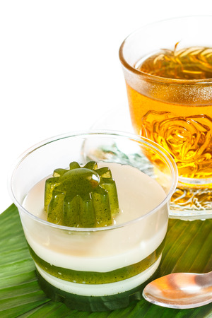 relieve: Pandan coconut and hot tea put on a green leaf. Eat to relieve hot cakes Thailand.