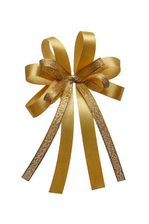ribbon bow: Gold ribbon bow isolated on white background.