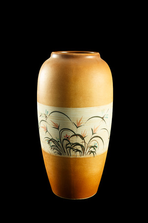 antiquities: Vase with floral paintings are spectacular. On a black background.