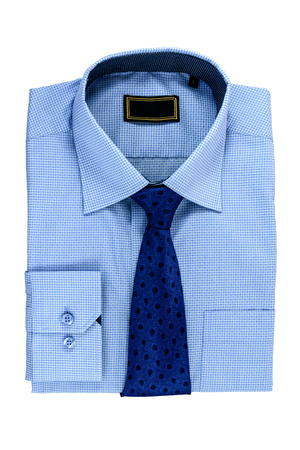 man's shirt: New blue mans shirt and Tie isolated on white Stock Photo