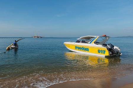 speedboat: Speedboat at Jomtien beach Pattaya, Bang Lamung District, Chon Buri Province ,  Thailand. - November 29, 2015