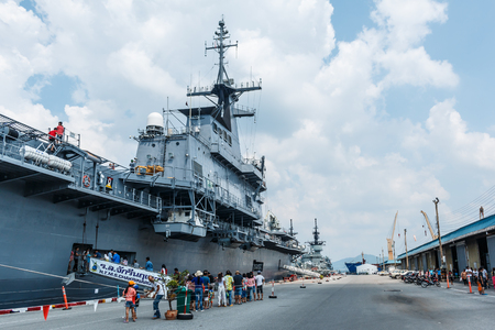 aircraft carrier: HTMS Chakri Naruebet aircraft carrier was shown for Thai people and tourist to visit at Sattahip Naval Base on October 23, 2015. The port is one of the few deep-water ports of Thailand for Naval base and commercial ships. Editorial