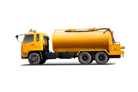 site preparation: Large tank truck isolated with white background. Stock Photo