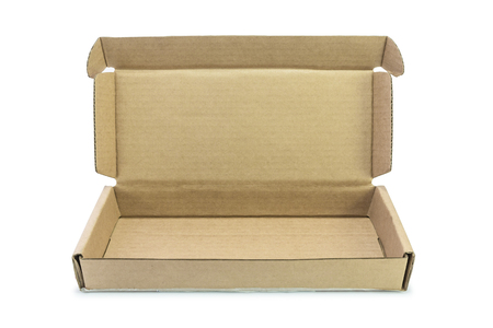 shipped: Cardboard box empty open over white