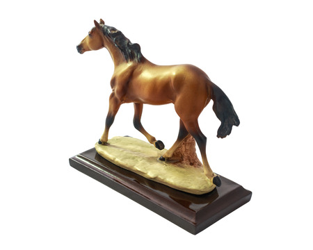 realism: Horse runs, Horse souvenir made of resin perfect design and realism with isolated on white background.