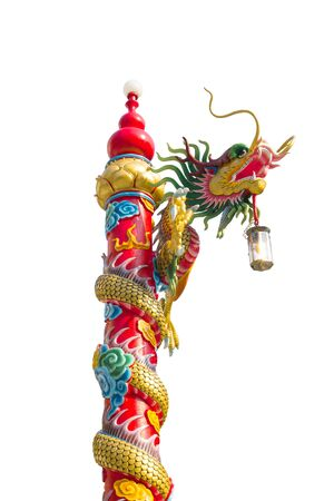 thriving: Chinese golden dragon wrapped around red pole; Chinese-style building in white background. Man is the mascot of the Chinese people. Filled with moral power of the Dragon to bring their families to suffer; Thriving complete.