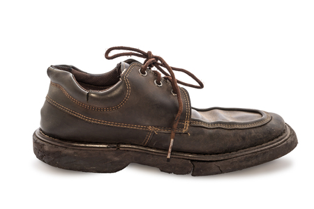 brown leather: Old shoes - Still life a pair of brown leather shoes old and dirty with isolated on white background, Side view Stock Photo