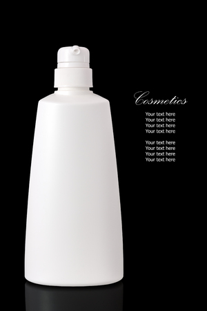 reflexion: White blank cosmetic container for body cream moisturizer isolated on black background with reflexion.