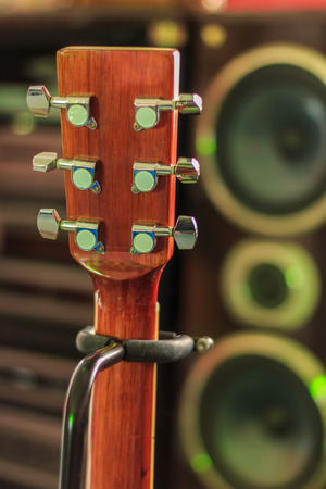 audio book: Musical background - Abstract guitar and speaker musical background Stock Photo